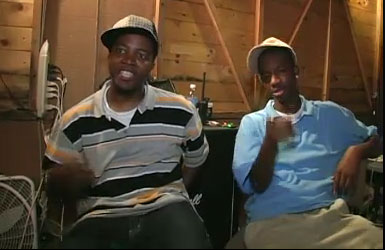 Al Kapone and Young AJ on the set of Five Dollar Cover