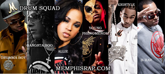 Photos of Drum Squad members Drumma Boy, Gangsta Boo, Allie,Young Phenomenom, Kristyle and B-Hav