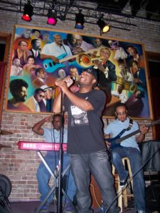 Mr Del on stage at Cafe Soul in Memphis