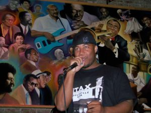 Mr Del on the microphone at Cafe Soul in Memphis