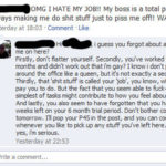 Facebook status message of girl hating her job, and her boss firing her