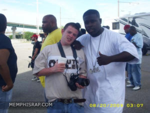 Photo of Mac E & Robert Douglas of MemphisRap.com at Three 6 Mafia Lil Freak Video Shoot