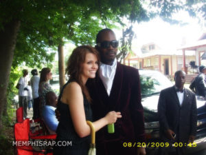 Photo of Juicy J & Millicent of MemphisRap.com at Three 6 Mafia Lil Freak Video Shoot
