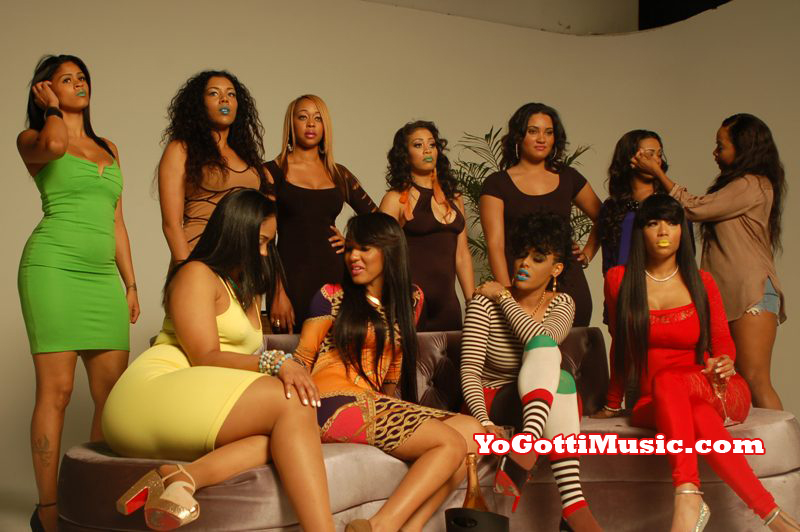 Photo of hip hop video models behind the scenes at Yo Gotti I Got Dat Sack video shoot