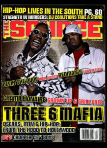 Photo of Three 6 Mafia on cover of Source Magazine