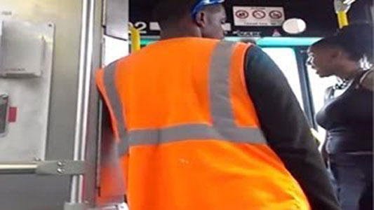 Photo of video of bus driver uppercut of woman in Cleveland