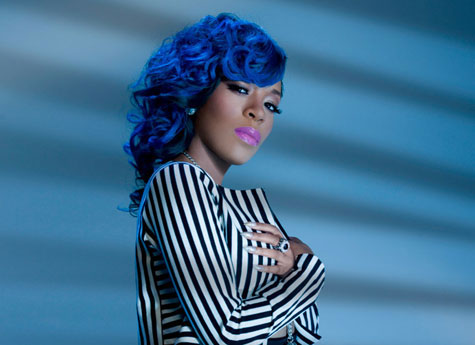 Photo of K Michelle with blue hair