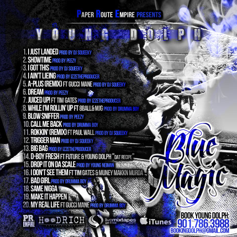 Photo of Young Dolph Blue Magic Mixtape back cover