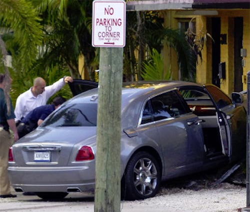 Rick Ross Rolls Royce car crashes into apartment after drive by shooting