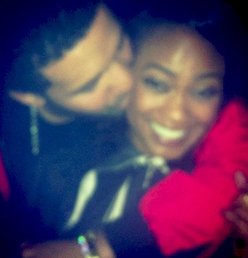 Actress and singer Tatyana Ali and Drake kiss