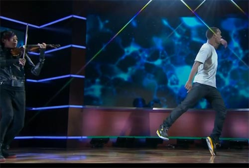 Lil Buck Jookin on TV show Colbert Report with violinist Jason Yang