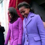 Photo of Sasha and Malia Obama during inauguration