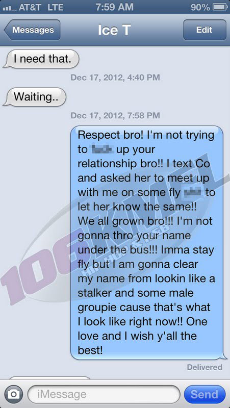 Photo of rapper AP.9 text conversation with Ice-T about sex with CoCo