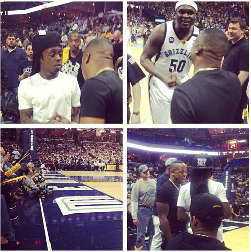 Photo of Lil Wayne, Yo Gotti at Memphis Grizzlies OKC Game at FedExForum Screen