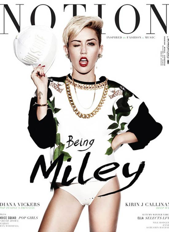 Miley Cyrus on the cover of Notion