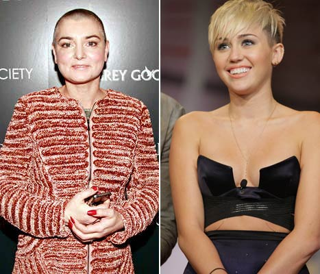Photo of Sinead O'Connor and Miley Cyrus