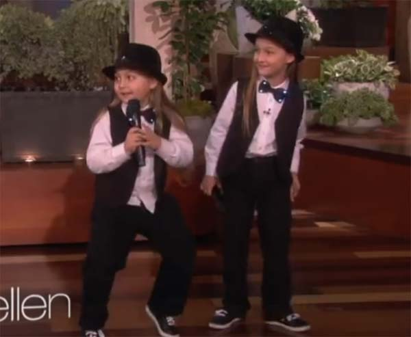 Elias and Zion raps Kanye West Gold Digger on Ellen DeGeneres