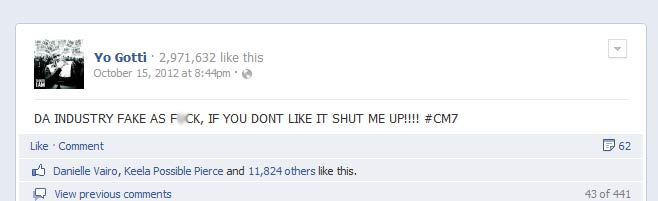 Yo Gotti says the Industry Is Fake on Facebook - Oct 15, 2012