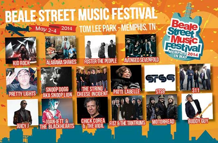 The Memphis In May Annual Beale Street Music Festival 2014 artist line
