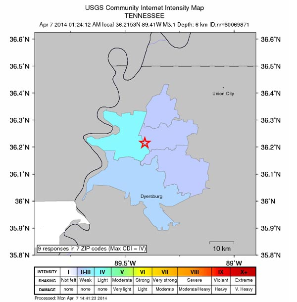 Did You Feel It Earthquake Tennessee April 2014