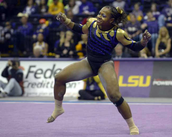 LSU gymnast Lloimincia Hall