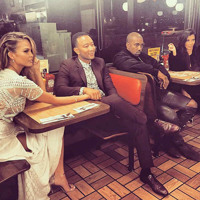 Kanye West, Kim, John Legend, Chrissy Waffle House