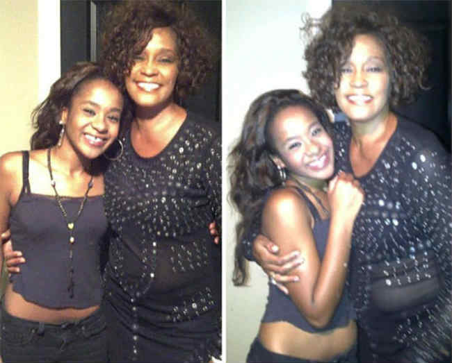 Whitney Houston Bobbi Kristina hugging