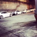 CMG all white cars lined up during CIAA Weekend