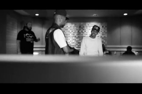 Picture of Drumma Boy and August Alsina working in the studio