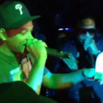 Photo of Will Smith, Doug E Fresh freestyle rap from video at Gabrielle Union b-day party
