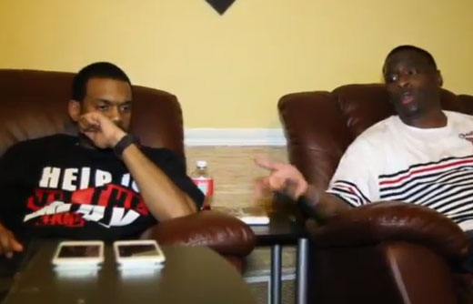 Photo of rapper Turk and Don-Trip in the studio
