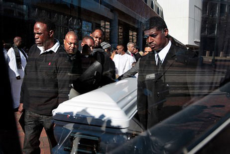 Photo of Cecil Cbaby Tuggle casket at memorial in Downtown, Memphis, TN
