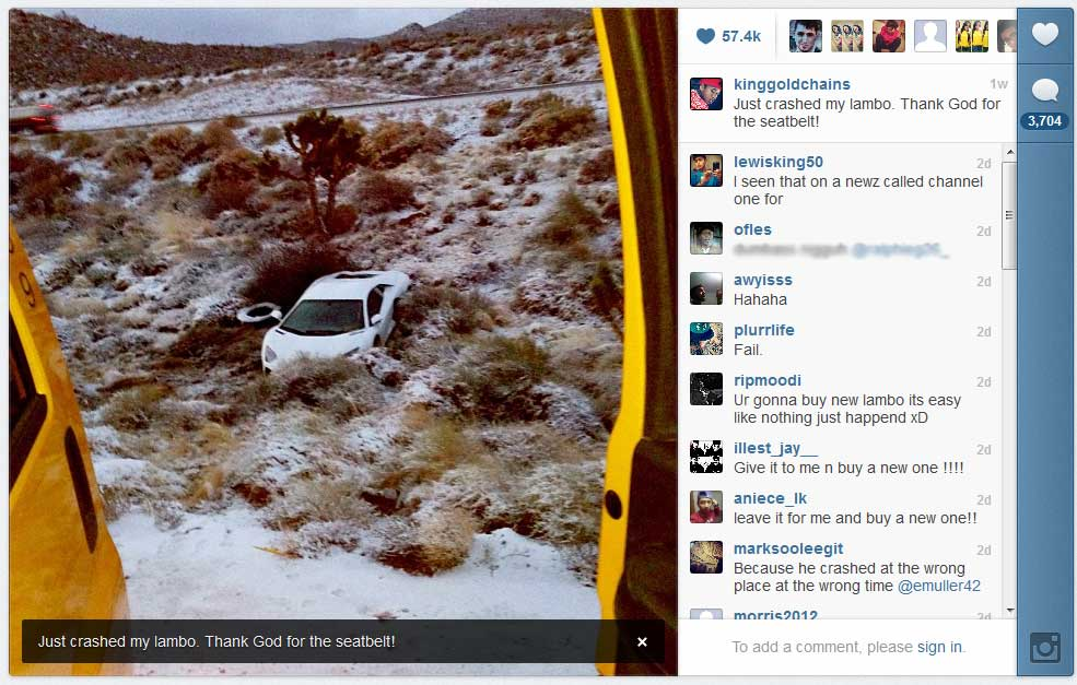 Picture of Tyga Instagram Lamborghini Crash Photo