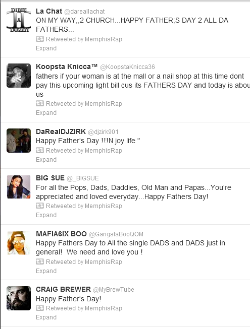 Memphis Hip Hop Twitter Fathers Day Tweets