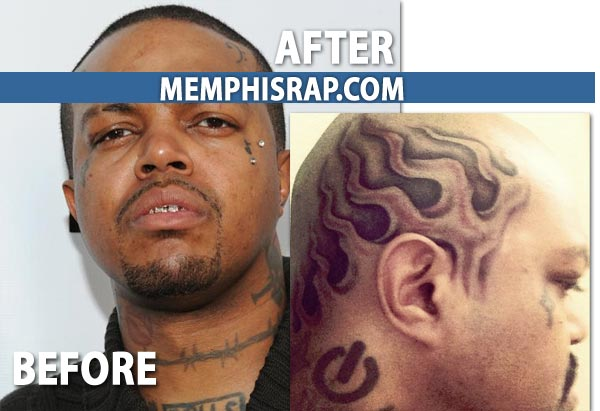 DJ Paul before and after - Flame Tattoo