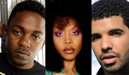 Photo - Kendrick Lamar, Erykah Badu and Drake