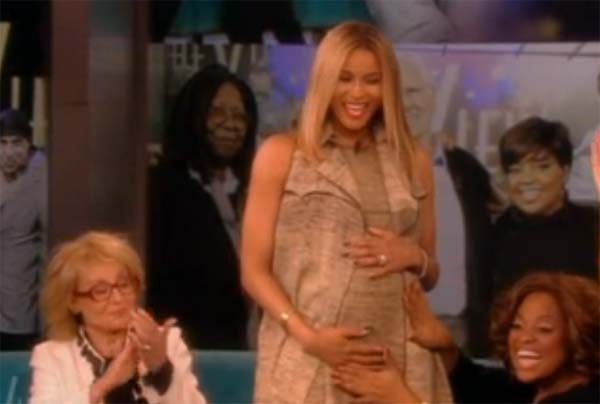 Photo Ciara holds pregnant belly as co-host Sherri Shepherd rubs it