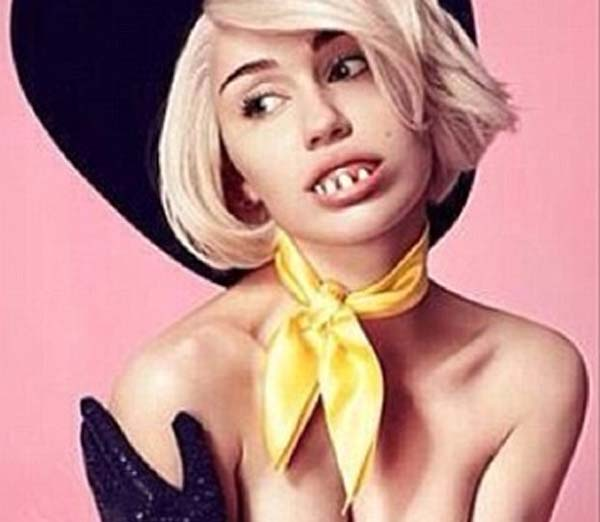 Miley Cryus sports cowboy hat, buck teeth, pasties, leather gloves for MTV Unplugged poster