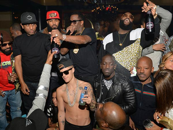 Justin Bieber with Diddy, Rick Ross, Jermaine Dupri and TI for Deleon Tequila launch party
