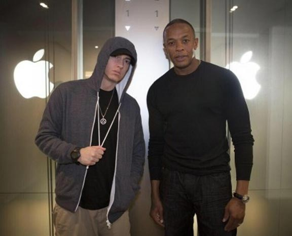 Dr Dre and Eminem at Apple office