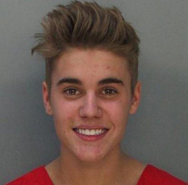 Justin Bieber mugshot picture