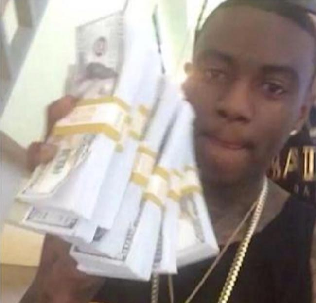 Soulja Boy fake money stack photo