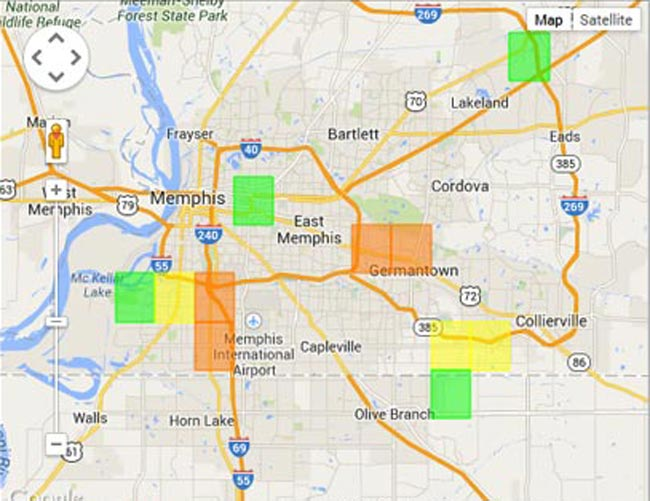 MLGW electric outage map August 8