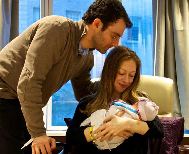 Chelsea Clinton, Marc and baby Charlotte