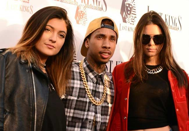 Kylie and Kendall Jenner with rapper Tyga
