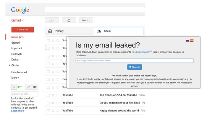 gmail alleged accounts hacked